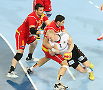 20.01.2013 Barcelona, Spain. IHF men's world championship, eighth.final. Picture show Patrick Wiencek  in action during game between Germany  vs FYRO Macedonia at Palau st Jordi