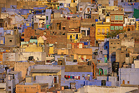 "Jodhpur Rajasthan India. The city is known as the ""Sun City"" for the bright, sunny weather it enjoys all the year round. It is also referred to as the ""Blue City"" due to the vivid blue-painted houses around the Mehrangarh Fort. The old city circles the fort and is bounded by a wall with several gates."