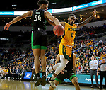 SIOUX FALLS, SD - MARCH 10: Vinnie Shahid #0 of the North Dakota State Bison has the ball stripped by De'Sean Allen-Eikens #34 of the North Dakota Fighting Hawks during the men's championship game at the 2020 Summit League Basketball Tournament in Sioux Falls, SD. (Photo by Dave Eggen/Inertia)