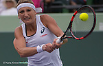 March 29 2016: Timea Bacsinszky (SUI) battles against Simone Halep (ROU) in three sets at the Miami Open being played at Crandon Park Tennis Center in Miami, Key Biscayne, Florida.
