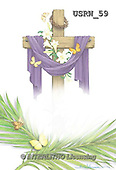Randy, EASTER RELIGIOUS, OSTERN RELIGIÖS, PASCUA RELIGIOSA, paintings+++++Draped-Cross-Palm-Branches,USRW59,#ER#