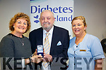 Dan O'Shea being honored with a gold medal as one of the longest living diabetics in Ireland. <br /> <br /> L-R: Pauline Lynch, Dan O'Shea and Catherine Quinlan
