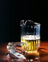 STILL LIFE: NEGATIVE IMAGE OF BEER. Pitcher of Beer & Glasses, One Tumbled.