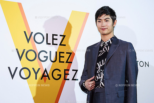 Haruma Miura, Apr 21, 2016 : Haruma Miura poses for the cameras during the opening celebration for Louis Vuitton's ''Volez, Voguez, Voyagez'' exhibition on April 21, 2016, Tokyo, Japan. After a successful run in Paris, the luxury fashion brand now brings the instalment to Tokyo, which traces Louis Vuitton's history from 1854 to today. Some 1,000 objects, including rare trunks, photographs and handwritten client cards will be displayed. Japanese room will be set up specially for Japan, showcasing such rare items as makeup and tea ceremony trunks for kabuki actor Ebizo XI. The exhibition will be open to the public free of charge from April 23 to June 19. (Photo by Rodrigo Reyes Marin/AFLO)