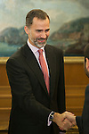 King Felipe VI of Spain receives Cinema Academy President Enrique Gonzalez Macho and Cinema Arts and Sciences Board of Directors during a Royal Audience at Zarzuela Palace in Madrid, Spain. December 15, 2014. (ALTERPHOTOS/Victor Blanco)