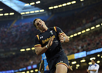 CARDIFF, WALES - SEPTEMBER 05: George North of Wales celebrates scoring a try during to the Wales v Italy international at the Millennium Stadium on September 5, 2015 in Cardiff, Wales. (Photo by Athena Pictures/Getty Images)