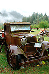 An old Ford pickup sits at the Buckner Orchard in Stehekin