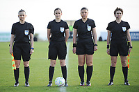20190227 - LARNACA , CYPRUS : Hungarian assistant referee Judit Kulcsar (left) , Hungarian referee Katalin Kulcsar (middle-left) , Cypriotic referee Androula Saitti Mouhtari (middle-right) , Cypriotic referee Androula Saitti Mouhtari (right) pictured during a women's soccer game between Korea DPR and Czech Republic , on Wednesday 27 February 2019 at the GSZ Stadium in Larnaca , Cyprus . This is the first game in group A for both teams during the Cyprus Womens Cup 2019 , a prestigious women soccer tournament as a preparation on the Uefa Women's Euro 2021 qualification duels and the Fifa World Cup France 2019. PHOTO SPORTPIX.BE | STIJN AUDOOREN