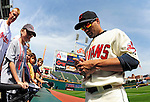 6 September 2009: Cleveland Indians' utilityman Jamey Carroll signs autographs prior to a game against the Minnesota Twins at Progressive Field in Cleveland, Ohio. The Indians defeated the Twins 3-1 to take the rubber match of their three-game weekend series. Mandatory Credit: Ed Wolfstein Photo