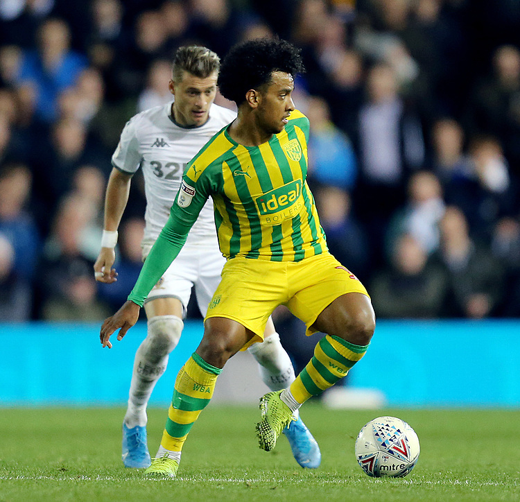 West Bromwich Albion's Matheus Pereira under pressure from Leeds United's Ezgjan Alioski<br /> <br /> Photographer Rich Linley/CameraSport<br /> <br /> The EFL Sky Bet Championship - Tuesday 1st October 2019  - Leeds United v West Bromwich Albion - Elland Road - Leeds<br /> <br /> World Copyright © 2019 CameraSport. All rights reserved. 43 Linden Ave. Countesthorpe. Leicester. England. LE8 5PG - Tel: +44 (0) 116 277 4147 - admin@camerasport.com - www.camerasport.com
