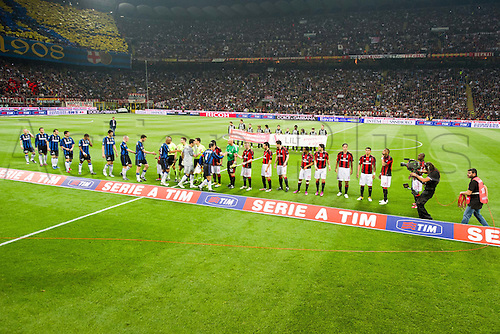 02.04.2011 Alexandre Pato scores two and Antonio Cassano converts a penalty against Inter in what could potentially be a title deciding result. Picture shows the teams lining up before the game.