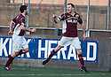 Stenny's Eddie Malone (3) celebrates with after he scores the late equaliser. <br /> <br /> <br /> 15/02/2014   jspa013_smuir_v_efife     <br /> Copyright  Pic : James Stewart   <br /> <br /> James Stewart Photography 19 Carronlea Drive, Falkirk. FK2 8DN      Vat Reg No. 607 6932 25   Tel:  +44 (0)7721 416997<br /> E-mail  :  jim@jspa.co.uk   If you require further information then contact Jim Stewart on any of the numbers above........