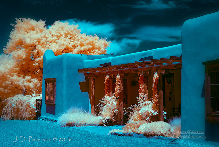 Ristras, Canyon Road, Santa Fe (Infrared) &copy;2016 James D Peterson.  Classic New Mexico themes get a new look in infrared light.  Limited Edition - Call Jim at 928-554-4340 for current availability.<br />