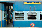 "Train carriage at Ernakulum railway station - with a sign reading ""for ladies only"". Ernakulum, Kerala, India."