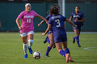 STANFORD, CA - OCTOBER 12: Maya Doms #10 of the Stanford Cardinal during a game between the Stanford Cardinal and Washington Huskies women's soccer teams at Cagan Stadium on October 6, 2019 in Stanford, California. during a game between University of Washington and Stanford Soccer W at Laird Q. Cagan Stadium on October 12, 2019 in Stanford, California.