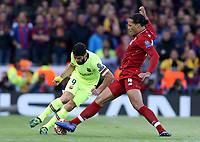 Barcelona's Luis Suarez is tackled by Liverpool's Virgil van Dijk<br /> <br /> Photographer Rich Linley/CameraSport<br /> <br /> UEFA Champions League Semi-Final 2nd Leg - Liverpool v Barcelona - Tuesday May 7th 2019 - Anfield - Liverpool<br />  <br /> World Copyright © 2018 CameraSport. All rights reserved. 43 Linden Ave. Countesthorpe. Leicester. England. LE8 5PG - Tel: +44 (0) 116 277 4147 - admin@camerasport.com - www.camerasport.com