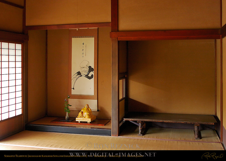 Sekkatei Teahouse, designed by Kanemori Sowa for Emperor Gomizunoo, Kinkakuji Temple of the Golden Pavilion, Rokuonji Deer Park Temple, Kyoto, Japan