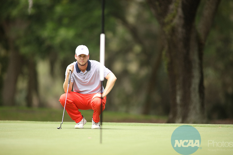 HOWEY IN THE HILLS, FL - MAY 19: Cody Gilbert of Texas at Tyler lines up a putt during the Division III Men's Golf Championship held at the Mission Inn Resort and Club on May 19, 2017 in Howey In The Hills, Florida. (Photo by Cy Cyr/NCAA Photos via Getty Images)