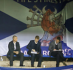 Kenny Miller and a cow with bagpipes