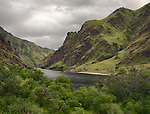 Idaho, North Central, Whitebird, Hells Canyon National Recreation Area. The Snake river winds it's way north through the mid section of Hells Canyon near the Pittsburg landing access area in spring.