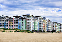 Colorful condominiums at Sandbridge Beach, Virginia Beach, Virginia, USA