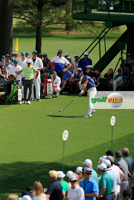 Tommy Fleetwood (ENG) on the 18th tee during the 1st round at the The Masters , Augusta National, Augusta, Georgia, USA. 11/04/2019.<br /> Picture Fran Caffrey / Golffile.ie<br /> <br /> All photo usage must carry mandatory copyright credit (© Golffile | Fran Caffrey)