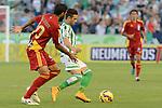 Menosee (L) and Ruben Castro during the match between Real Betis and Recreativo de Huelva day 10 of the spanish Adelante League 2014-2015 014-2015 played at the Benito Villamarin stadium of Seville. (PHOTO: CARLOS BOUZA / BOUZA PRESS / ALTER PHOTOS)