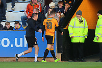 George Maris of Cambridge heads to the tunnel after being shown a red card and sent off by referee Darren Handley during Cambridge United vs Sutton United , Emirates FA Cup Football at the Cambs Glass Stadium on 5th November 2017