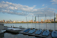 sailboat dock, skyline from MIT, Charles River, clouds, Boston, MA