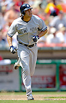 17 June 2006: Johnny Damon, center fielder for the New York Yankees, trots to first while watching his grand slam in the 5th inning against the Washington Nationals at RFK Stadium, in Washington, DC. The Nationals overcame a seven run deficit to win 11-9 in the second game of the interleague series...Mandatory Photo Credit: Ed Wolfstein Photo...