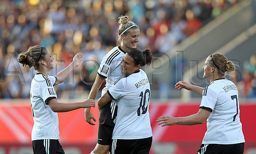 17.09.2014. Heidenheim, Germany. Womens World Cup football qualifier. Germany versus Republic of Ireland.  Anja Mittag (Ger)celebrates the goal for 2:0, with Dzsenifer Marozsan (Ger) w