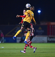 Lincoln City's Tom Pett vies for possession with  Wolverhampton Wanderers U21's Sadou Diallo<br /> <br /> Photographer Andrew Vaughan/CameraSport<br /> <br /> The EFL Checkatrade Trophy Northern Group H - Lincoln City v Wolverhampton Wanderers U21 - Tuesday 6th November 2018 - Sincil Bank - Lincoln<br />  <br /> World Copyright © 2018 CameraSport. All rights reserved. 43 Linden Ave. Countesthorpe. Leicester. England. LE8 5PG - Tel: +44 (0) 116 277 4147 - admin@camerasport.com - www.camerasport.com