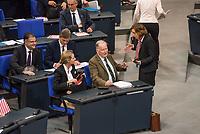 Konstituierende Sitzung des 19. Deutschen Bundestag am Dienstag den 24. Oktober 2017.<br /> Im Bild: Beatrix von Storch (rechts) und die AfD-Fraktionsvorsitzenden Alexander Gauland (2. von rechts) und Alice Weidel (3. von rechts) diskutieren nachdem der AfD-Kandidat fuer den Posten des stellv. Bundestatgspraesidenten, Albrecht Glaser, von den Abgeordneten auch im dritten Wahlgang nicht gewaehlt wurde.<br /> 24.10.2017, Berlin<br /> Copyright: Christian-Ditsch.de<br /> [Inhaltsveraendernde Manipulation des Fotos nur nach ausdruecklicher Genehmigung des Fotografen. Vereinbarungen ueber Abtretung von Persoenlichkeitsrechten/Model Release der abgebildeten Person/Personen liegen nicht vor. NO MODEL RELEASE! Nur fuer Redaktionelle Zwecke. Don't publish without copyright Christian-Ditsch.de, Veroeffentlichung nur mit Fotografennennung, sowie gegen Honorar, MwSt. und Beleg. Konto: I N G - D i B a, IBAN DE58500105175400192269, BIC INGDDEFFXXX, Kontakt: post@christian-ditsch.de<br /> Bei der Bearbeitung der Dateiinformationen darf die Urheberkennzeichnung in den EXIF- und  IPTC-Daten nicht entfernt werden, diese sind in digitalen Medien nach §95c UrhG rechtlich geschuetzt. Der Urhebervermerk wird gemaess §13 UrhG verlangt.]