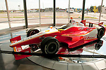 USA, Indiana, Indianapolis Motor Speedway, historic Indy 500 car at Dellara car manufacturing facility showroom..