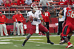 Luke Falk, Washington State University quarterback, prepares to fire a pass down field during to the Cougars first road test of the season against Big Ten foe Rutgers at High Point Solutions Stadium in Piscataway, New Jersey, on September 12, 2015.  WSU came back from a late deficit to go on a 90 yard touchdown drive to score the winning TD with 13 seconds left to get the win, 37-34.