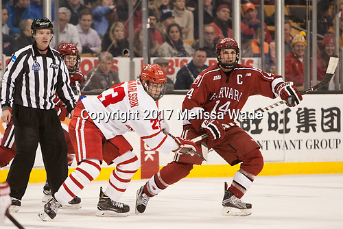Lewis Zerter-Gossage (Harvard - 77), Jakob Forsbacka Karlsson (BU - 23), Alexander Kerfoot (Harvard - 14) - The Harvard University Crimson defeated the Boston University Terriers 6-3 (EN) to win the 2017 Beanpot on Monday, February 13, 2017, at TD Garden in Boston, Massachusetts.