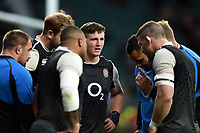 Tom Curry of England looks on in a pre-match huddle. Guinness Six Nations match between England and Scotland on March 16, 2019 at Twickenham Stadium in London, England. Photo by: Patrick Khachfe / Onside Images