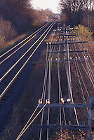 Telephone Poles Next to Railway Tracks