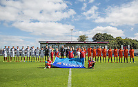 The Teams stand for National Anthems pre match during the International match between England U19 and Netherlands U19 at New Bucks Head, Telford, England on 1 September 2016. Photo by Andy Rowland.