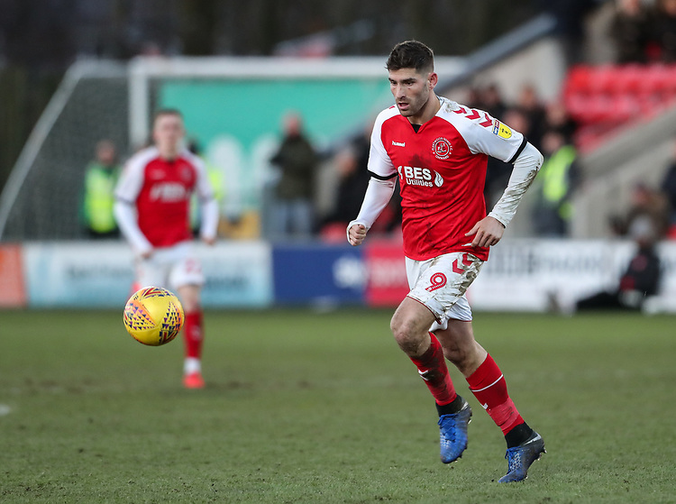 Fleetwood Town's Ched Evans breaks <br /> <br /> Photographer Andrew Kearns/CameraSport<br /> <br /> The EFL Sky Bet League One - Fleetwood Town v Charlton Athletic - Saturday 2nd February 2019 - Highbury Stadium - Fleetwood<br /> <br /> World Copyright © 2019 CameraSport. All rights reserved. 43 Linden Ave. Countesthorpe. Leicester. England. LE8 5PG - Tel: +44 (0) 116 277 4147 - admin@camerasport.com - www.camerasport.com