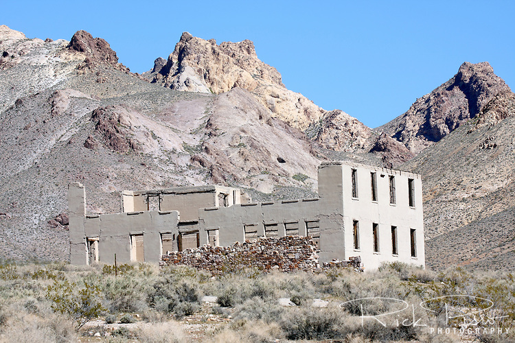 The school house in Rhyolite, Nevada, was completed in January 1909 at cost of $20,000. The bonds that were used to finance the building of the school were paid off in 1972. The roof, windows, and interior woods were later used on the middle school in nearby Beatty, Nevada. Photographed 03/08.
