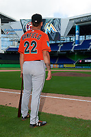 Miami Marlins Will Banfield (22) after a Florida Instructional League game against the Washington Nationals on September 26, 2018 at the Marlins Park in Miami, Florida.  (Mike Janes/Four Seam Images)