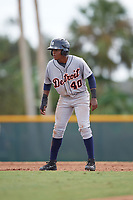 Detroit Tigers Juan Ramirez (40) leads off during an Instructional League game against the Pittsburgh Pirates on October 6, 2017 at Pirate City in Bradenton, Florida.  (Mike Janes/Four Seam Images)