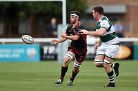 James Benjamin of the Dragons passes the ball. Pre-season friendly match, between Ealing Trailfinders and the Dragons on August 11, 2018 at the Trailfinders Sports Ground in London, England. Photo by: Patrick Khachfe / Onside Images