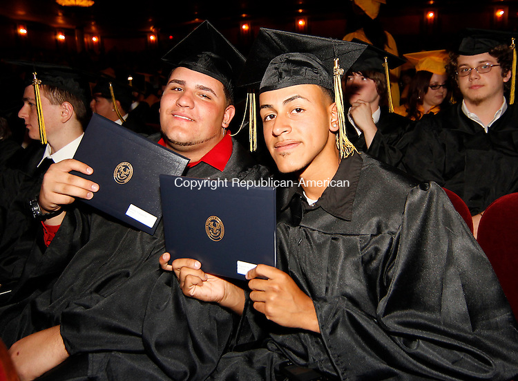 Waterbury, CT-16, June 2010-061610CM06 Kaynor Tech graduates, Sammy Vargas Jr.(left)  and Miguel Vazquez proudly show off their diplomas.  Kaynor Tech High School held their graduation ceremony at the Palace Theater in downtown Waterbury Wednesday night.  --Christopher Massa Republican-American