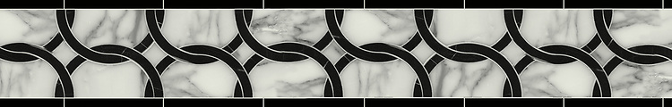 "6 1/2"" Connecting Circles border, a waterjet stone mosaic, shown in polished Calacatta Tia and Nero Marquina, is part of the Silk Road® collection by New Ravenna."