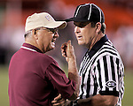 Florida State head coach Bobby Bowden has a discussion with the referee during the annual Florida State/Miami game September 10, 2004. (Mark Wallheiser/TallahasseeStock.com)