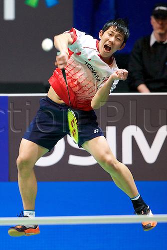 10.03.2012 Birmingham, England. Hirokatsu Hashimoto (JPN) and Noriyasu Hirata (JPN) in action during the Yonex All England Open Badminton Championships at the National Indoor Arena.