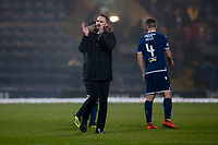 1st November 2019; Dens Park, Dundee, Scotland; Scottish Championship Football, Dundee Football Club versus Greenock Morton; Dundee manager James McPake applauds the fans at the end of the match - Editorial Use