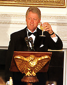 Washington, DC - September 29, 1999 -- U.S. President Bill Clinton toasts the recipients of the 1999 National Humanities Medal to the White House in Washington, DC on 29 September, 1999..Credit: Ron Sachs / Pool via CNP